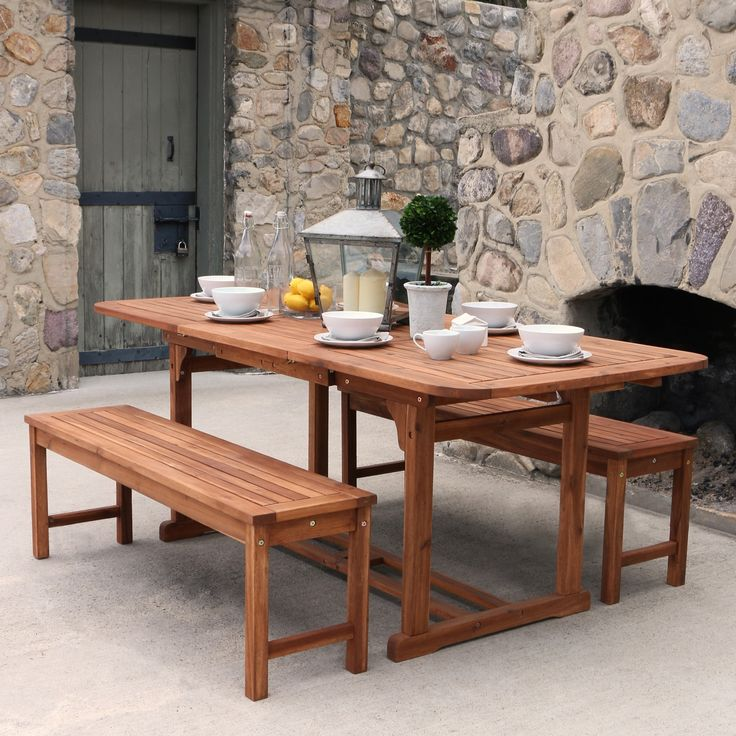 Brown Acacia 3 Piece Dining Set With Benches