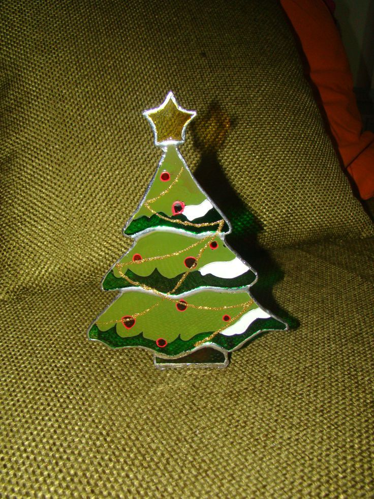 Stained glass christmas tree candle holder