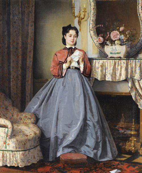 Obviously a young lady on the cutting edge of fashion.     The Love Letter  Auguste Toulmouche  1863