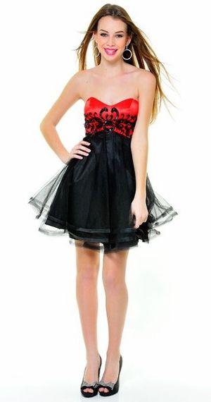 Red/Black Winter Formal Cocktail Dress Short Embroider Strapless Tulle