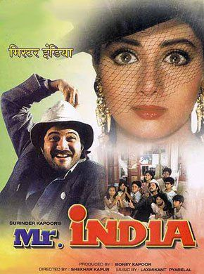 Mr. India Hindi Movie Online - Anil Kapoor, Sridevi, Amrish Puri, Satish Kaushik, Annu Kapoor, Sharat Saxena and Ajit Vachani. Directed by Shekhar Kapur. Music by Laxmikant-Pyarelal. 1987 [U]