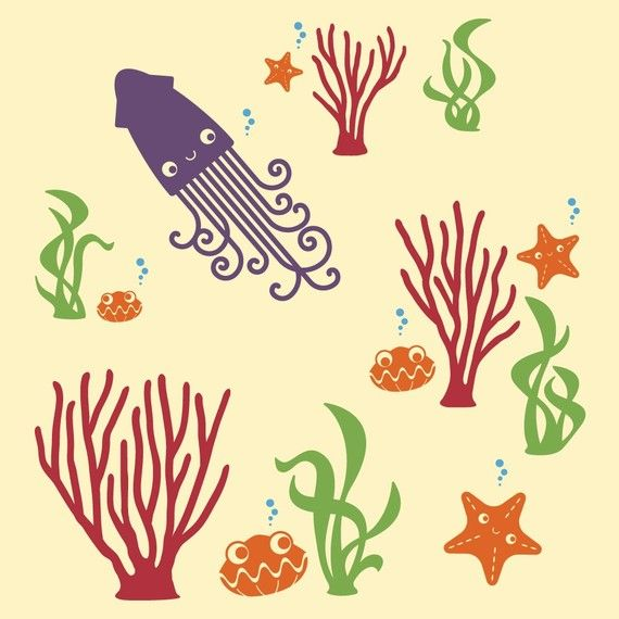 Seaweed Wall Decal Stickers for Ocean theme by graphicspaces, $20.00