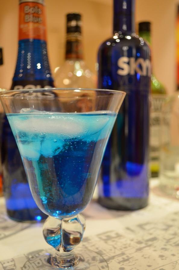 Hanukkah cocktail - made with Blue Curaçao, vodka, Sprite & lemon