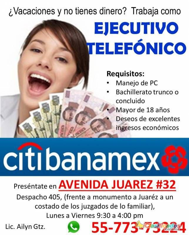 Ejecutivos Telefonicos, MEDIO TIEMPO, CITI BANAMEX - iclasificados.com.mx