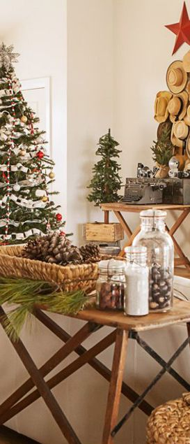 Rustic Christmas Julie Ranee Photography  ~ Vintage ironing board as sofa table
