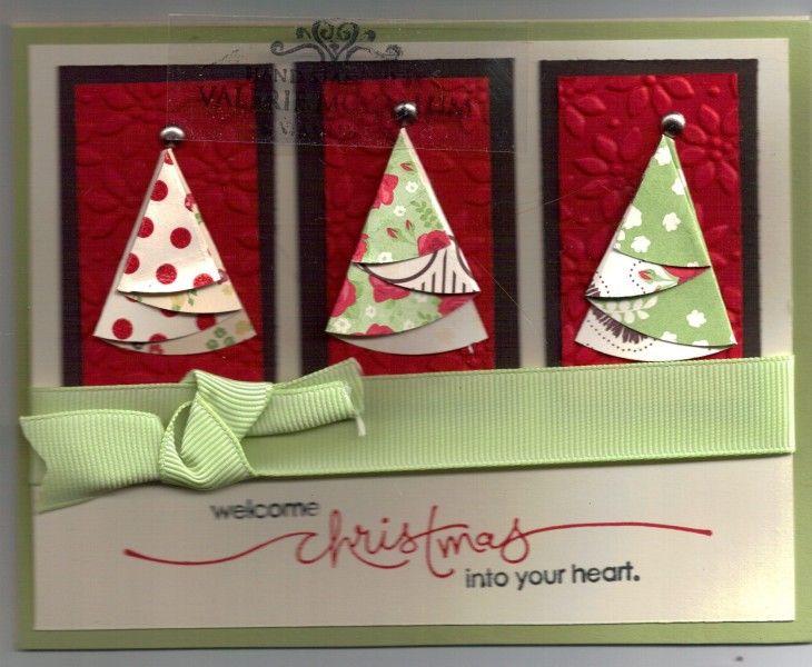 Weihnachtskarte mit gefalteten Tannen