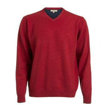 A rich red lambswool ~Magee v-neck jumper. The wool is washed giving you a beautifully soft texture. Features include a tonal wolfhound and contrasting inside collar.