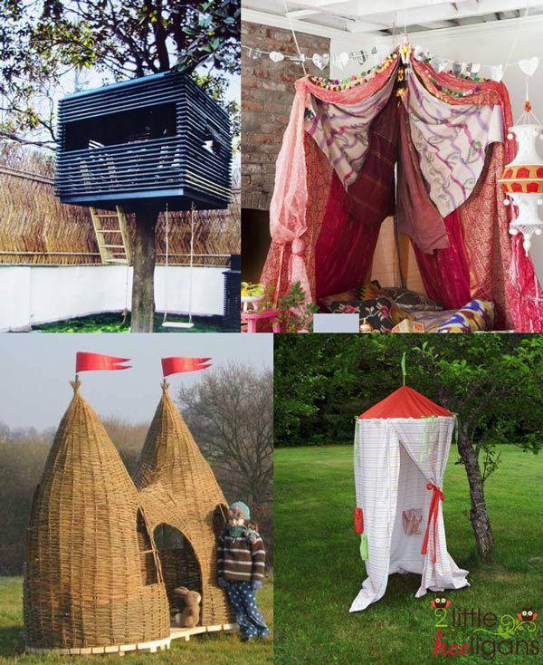 Idées de cabanes pour les enfants. Parfait pour une après midi de jeux en plein air...