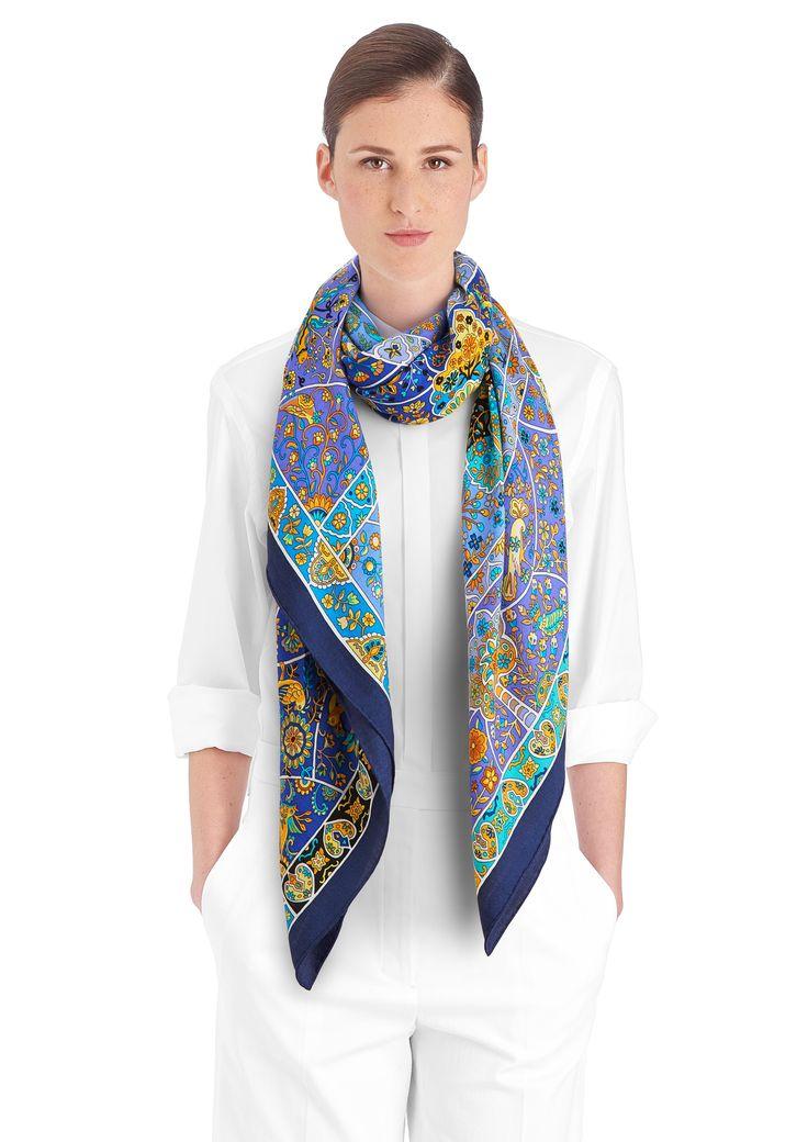 Hermes Scarf Shawl Folklore Cashmere Silk Vintage | LePrix