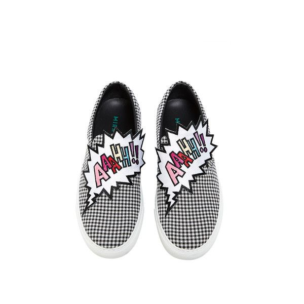 Mira Mikati Aaahh! Patched Slip On (1.995.785 COP) ❤ liked on. White Flat  ShoesBlack ...