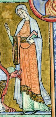 Interesting site for 11th and 12th C. - note the pattern on the dress. First base color, then tone darker drawing on top.
