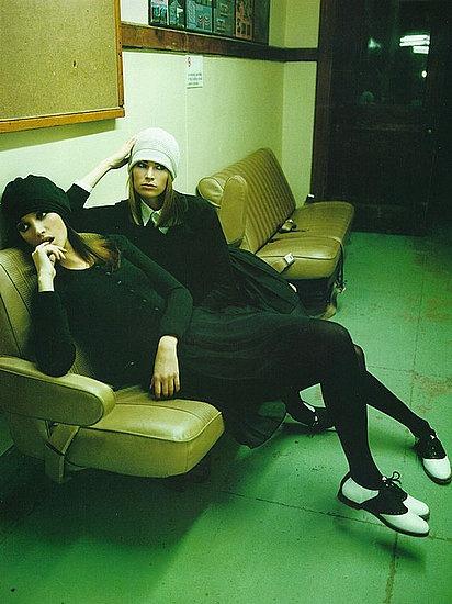 saddle shoes + all black. // christy turlington + meghan douglas. vogue italia march 94. steven meiseil.