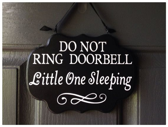 Do Not Ring Doorbell Little One Sleeping Sign Baby by HandyMomma: custom distressed cream color with blue writing