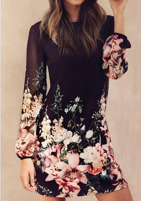 Black Floral Grenadine Long Sleeve Fashion Polyester Mini Dress