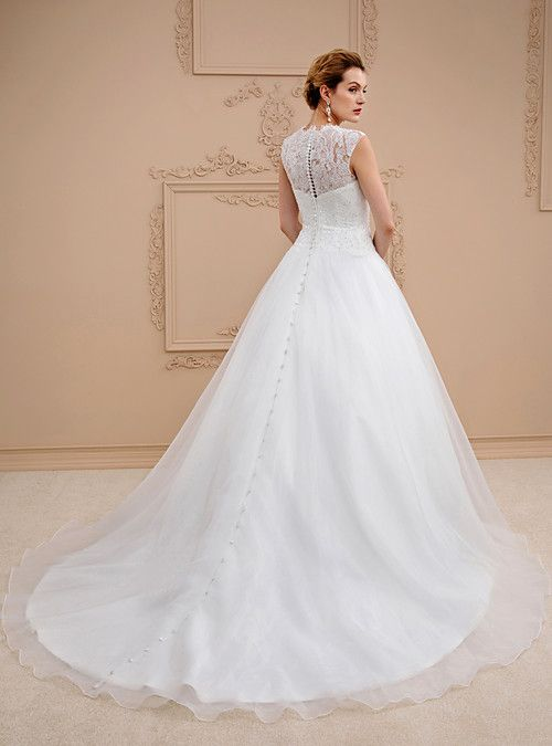 bb250fe6c21 Ball Gown Jewel Neck Chapel Train Lace   Organza Made-To-Measure Wedding  Dresses with Beading   Buttons by LAN TING BRIDE®   See-Through   Beautiful  Back ...