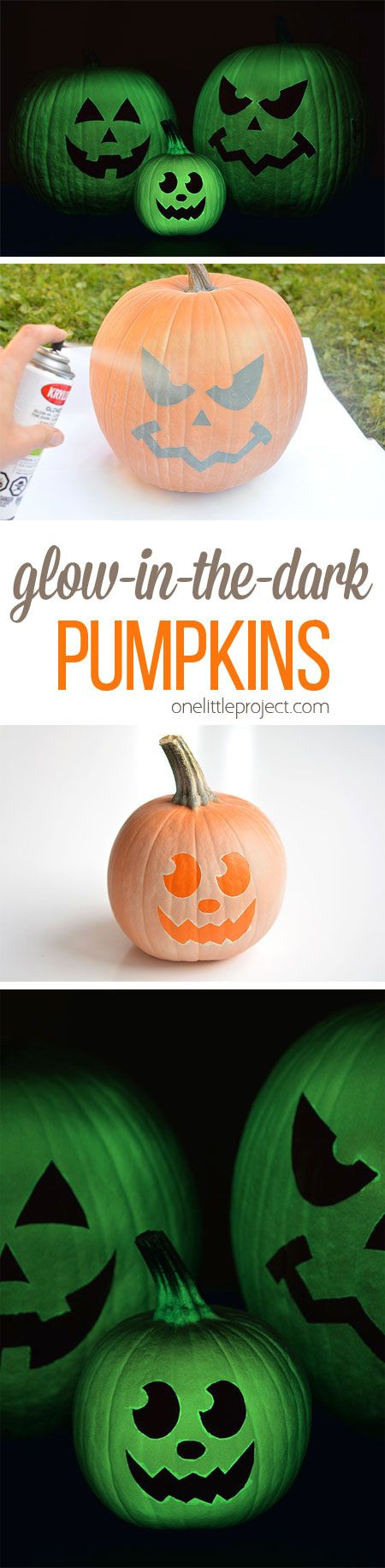 They look amazing in the dark, and look ghostly in the light. Such a fun and easy no-carve pumpkin idea for Halloween!