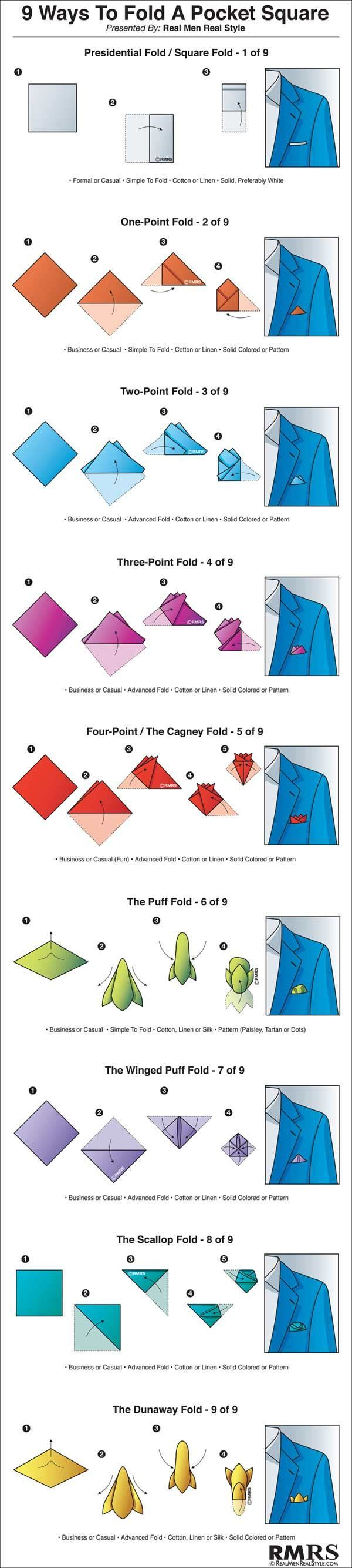 how to fold a pocket square, 9 ways to fold a pocket square infographic