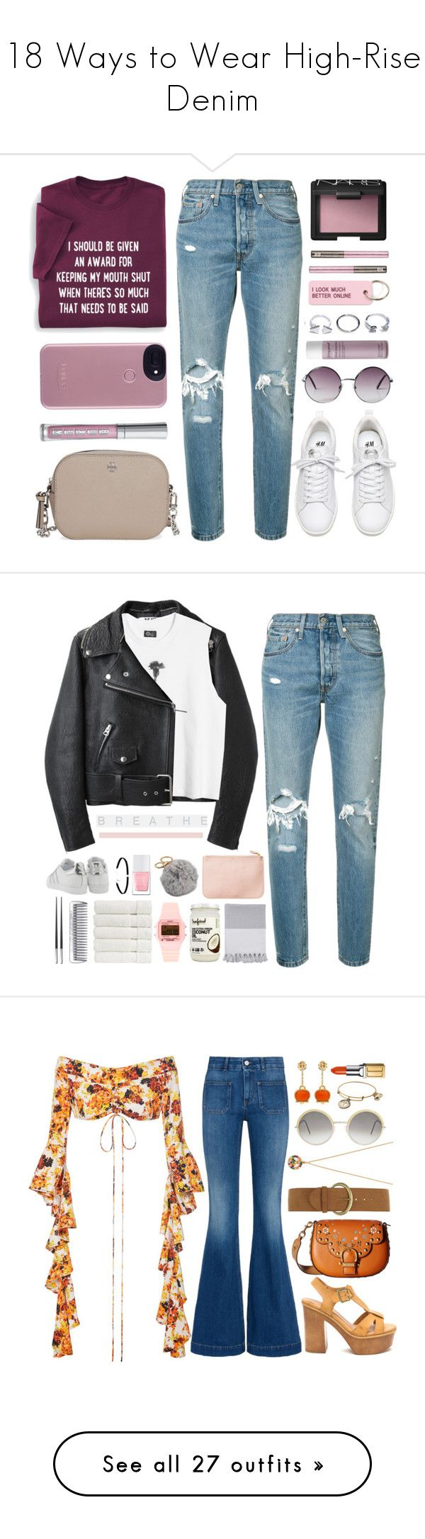 """""""18 Ways to Wear High-Rise Denim"""" by polyvore-editorial ❤ liked on Polyvore featuring waystowear, highrisedenim, Levi's, Monki, NARS Cosmetics, Tory Burch, GUESS, Buxom, Living Proof and Various Projects"""