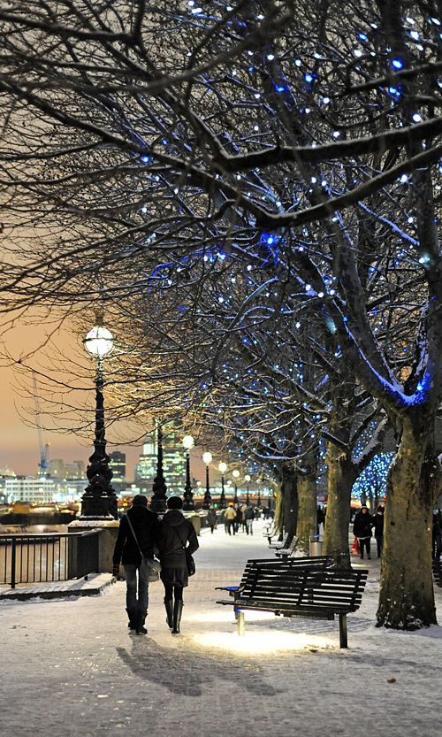 South Bank, London, England — by Kathryn. A walk along by the River Thames in the snow. What could be more romantic?