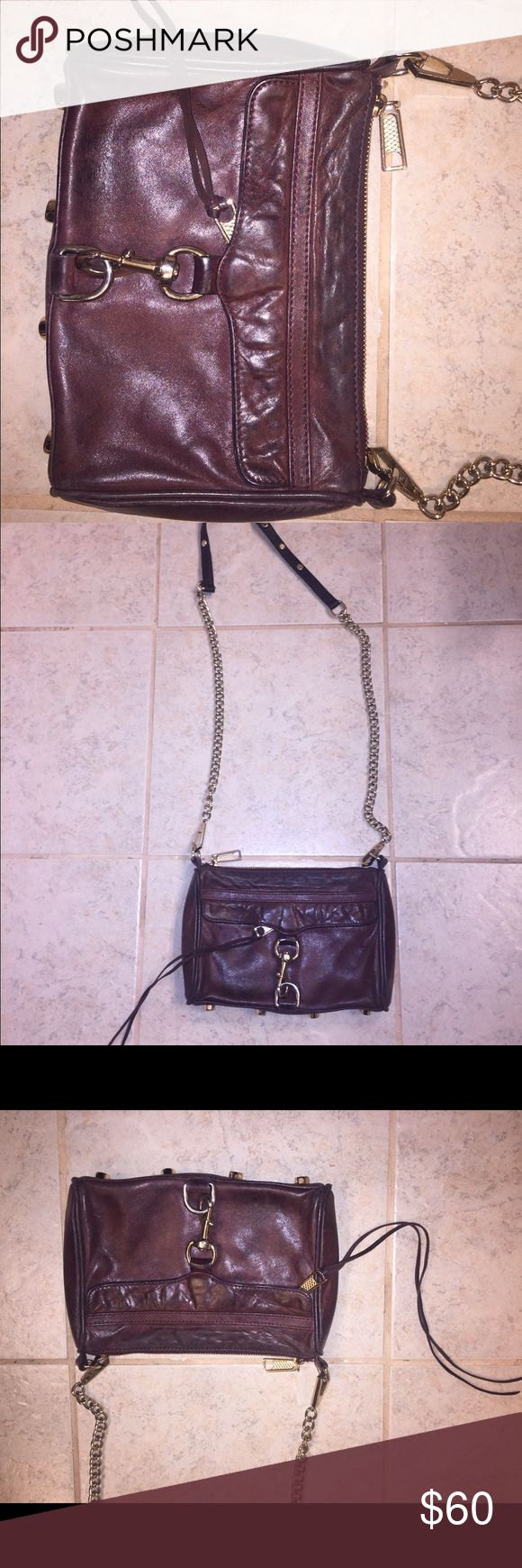 Rebecca Minkoff Leather cross body purse Burgundy Leather Rebecca Minkoff Leather Purse. Cross body style. Leather has a distressed look but Purse is in great condition. Removable strap. Brass hardware. Rebecca Minkoff Bags Crossbody Bags