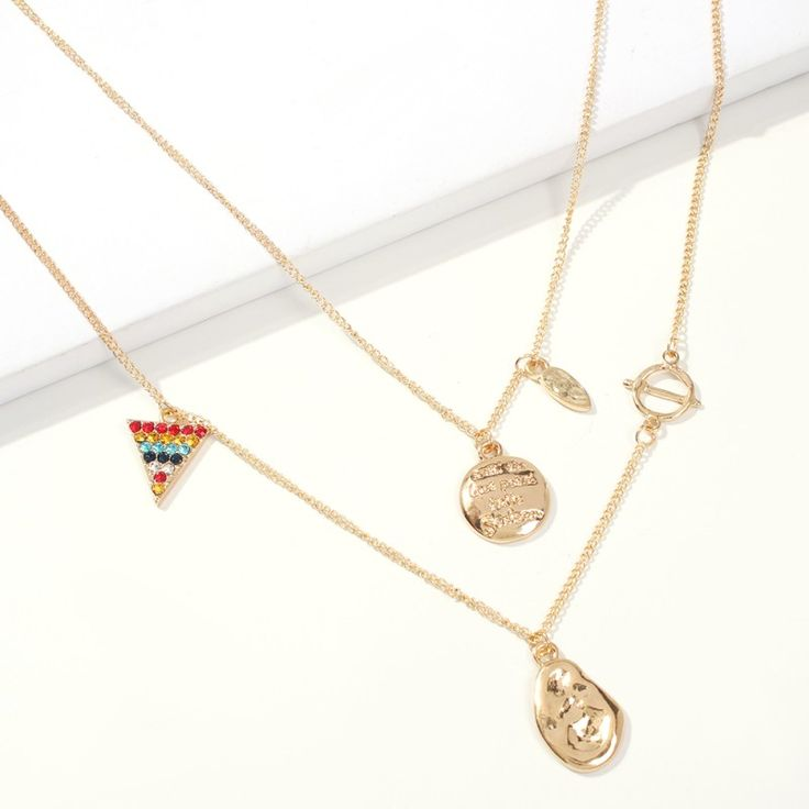 Multi Layer Gold Link Chain Necklace, Gold Coin Colorful Triangle Pendant Necklace