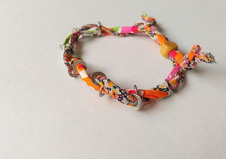 Liberty Print fabric colourful bracelet woven with metal by BeelineEmporium on Etsy