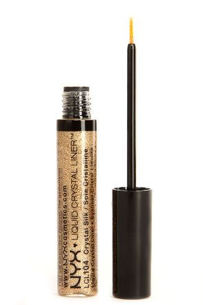 I just got this today at Ulta  It looks pretty sick over the black liner  NYX Crystal Silk Gold Liquid Crystal Liner