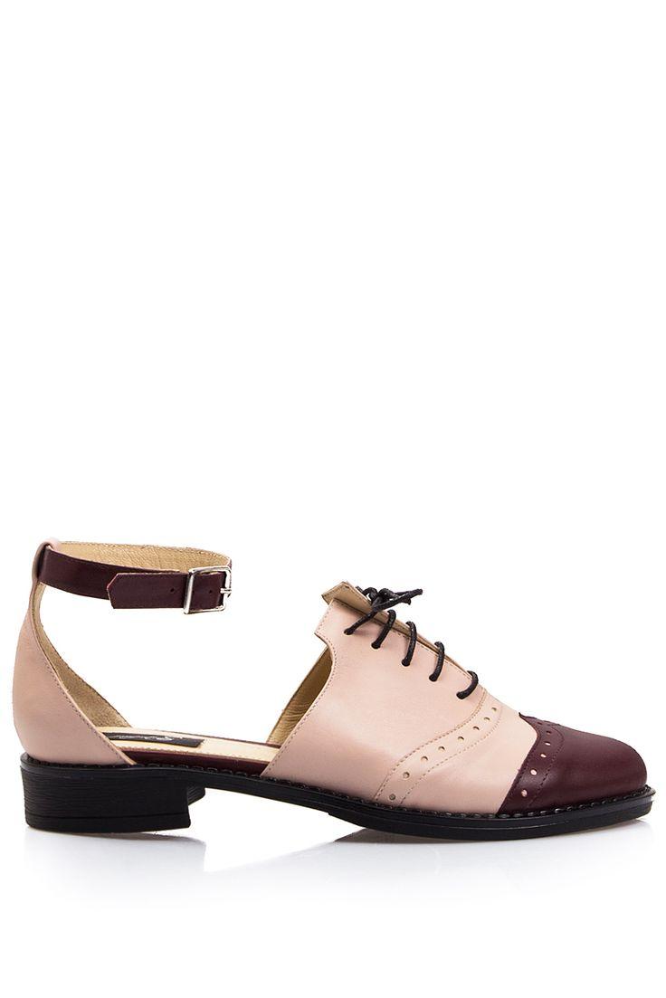 PassepartouS   Pantofi oxford din piele decupati roz pal    WE LOVE COUTURE