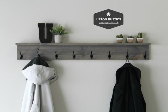 Rustic Coat Rack Shelf Wall Coat Rack With Shelf Wall Shelf With Hooks Coat Rack Wall Mount Entryway S In 2020 Coat Rack Wall Wall Shelf With Hooks Coat Rack Shelf