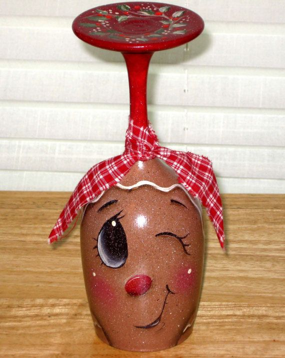 Gingerbread candle holder hand painted wine glass by KathysKountry, $14.00