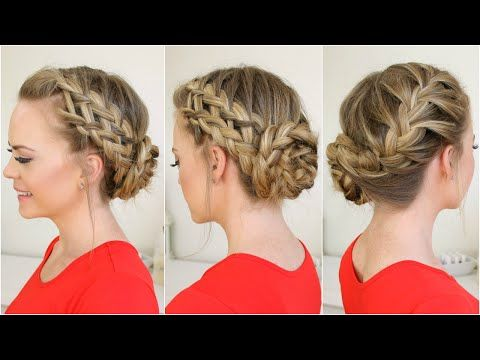 Waterfall, Dutch, French Braid into Braided Bun - YouTube