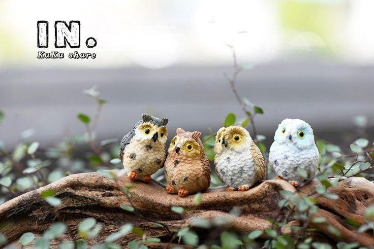 4pcs micro mini fairy garden miniatures figurines Owl birds animal Action Figure Toys ornament terrarium accessories by MsDIYSupplies on Etsy
