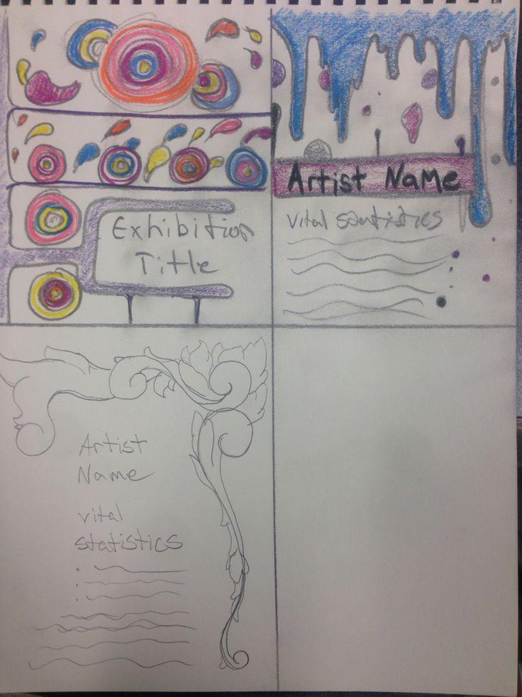 Exhibition title, plaques, info graph sketches