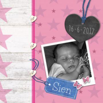 Sterren geboortekaart #geboortekaartje #meisje #dochter #dochtertje #hout #steigerhout #foto #hanger #krijt #hart #naamlabel #hartjes #knoopjes #sterrenpatroon #roze