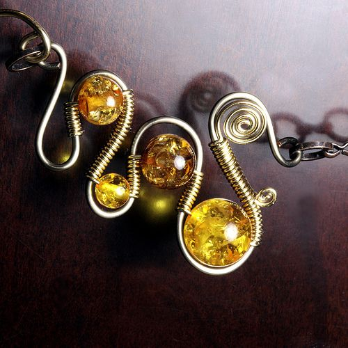 steampunk Jewelry made by CatherinetteRings- Wire wrapped necklace with amber beads, via Flickr.