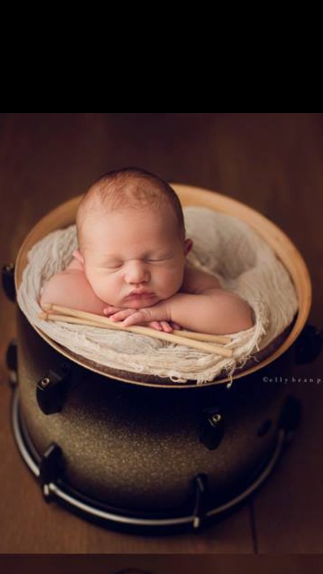 Newborn photography with drums