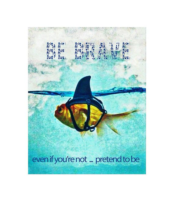 "Shark Image, Digital Karma Fish Image ""Be Brave, Even If You Are Not, Pretend To Be"" Digital Quote Sign, DIY Quote Poster, Kid Nursery Decor by ICreateAndCollect on Etsy"