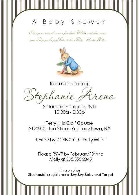 Peter Rabbit Striped Bunny Invitations By DragonflyDesigned