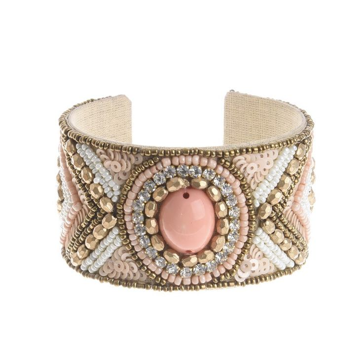 BRACELET ΙΝ PINK-GOLD COLOR WITH BEAD - Bracelets - Jewellery - Accessories