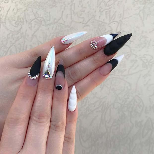 Matte Black And White Stiletto Nails Mattenails Nailedit Nailart Blacknails Gem Nails Stiletto Nails Designs White Stiletto Nails