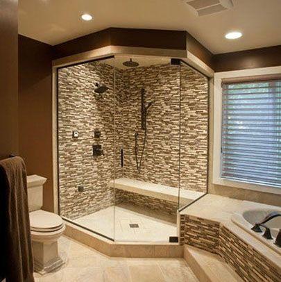 Love the Tile work in this #Bathroom #Shower Design! More home designs at www.HomeChannelTV.com