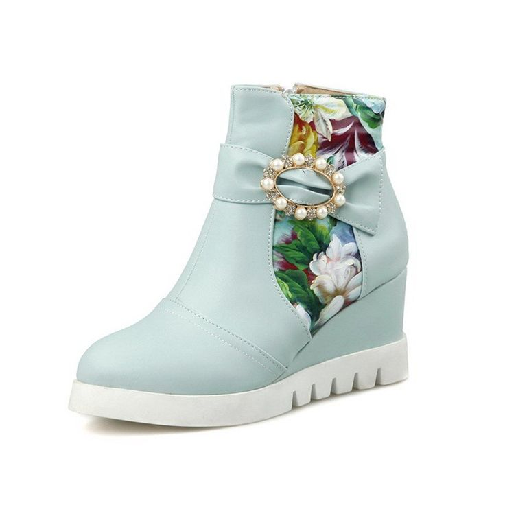 WeenFashion Women's Round Closed Toe Assorted Color Ankle High High Heels Boots * See this great product.