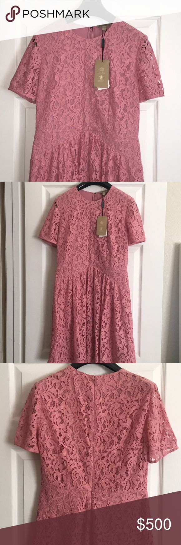Burberry Christy Lace Dress Pink lace dress with short sleeves, fit and flare skirt Burberry Dresses Midi