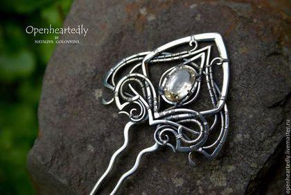 "Серебряная шпилька ""Esperanza"" с цитрином от Наталии Головиной — работа дня на Ярмарке Мастеров.  Магазин мастера: openheartedly.livemaster.ru  #handmade #jewelry #wirewrap #wirework #silver #hairpin #craft"