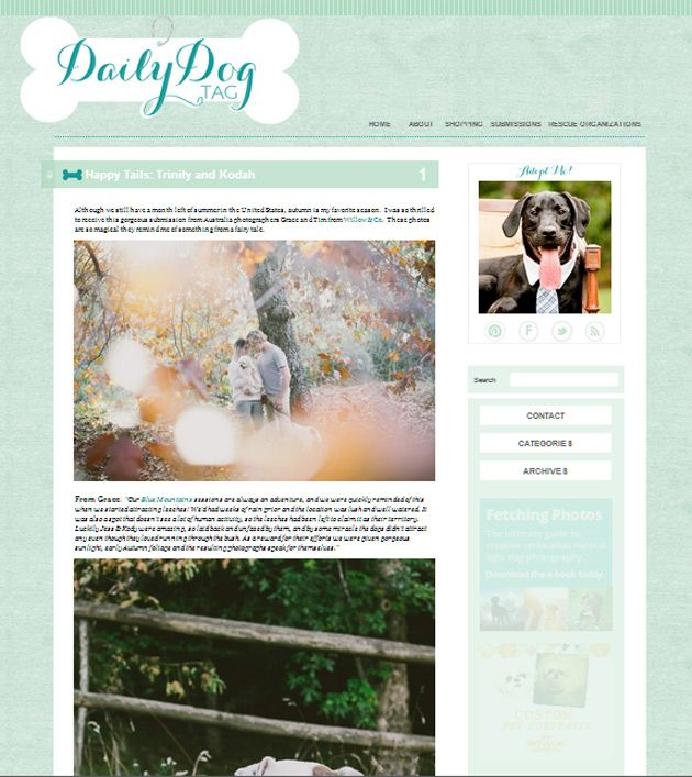 U.S. blog, The Daily Dog Tag, featured Jess & Kody's session