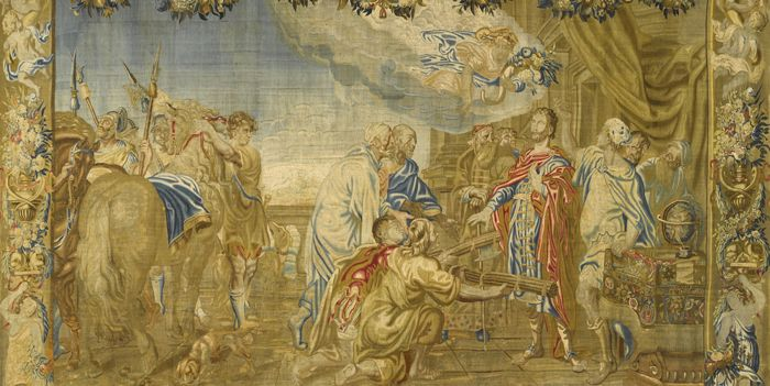 A Chilean Tapestry, The Ambassadors of Rome Offering the Throne to Numa Pompilio, was recovered by the FBI Art Crime Team in 2015. COURTESY FBI