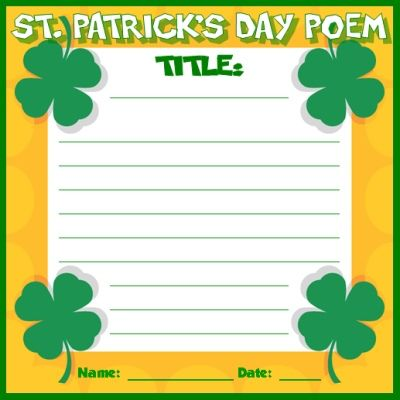 Have your students write a poem, possibly a limerick, for St. Patrick's Day.  These templates are colorful and come with a matching 5 page bulletin board display banner.