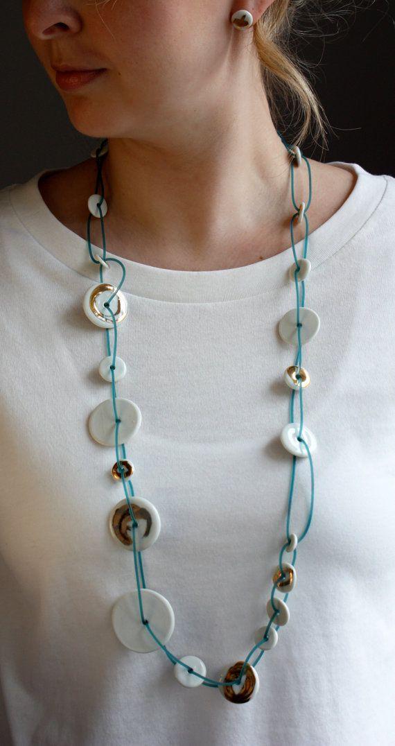 Collana di porcellana oro bianco turchese di JulianeBlank su Etsy