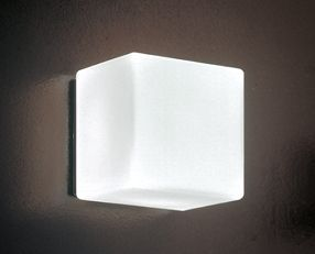 cubi 16 wall-ceiling - Cube-like wall or ceiling design with hand-blown , layered satin white glass diffuser . Available in two sizes , light source options include LED and halogen. Backing in painted artic grey.