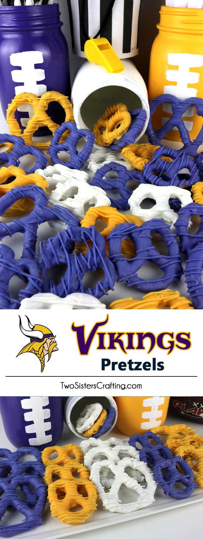 Minnesota Vikings Pretzels - yummy bites of sweet and salty Football Game Day goodness that are super easy to make. They are perfect as a little extra treat at a NFL playoff party, a Super Bowl party or as a special dessert for the Minnesota Vikings fan in your life. Follow us for more fun Super Bowl Food Ideas. #MinnesotaVikings #Vikings #MinnesotaVikingsFood #superbowl #superbowlparty #superbowlfood  via @2SistersCraft